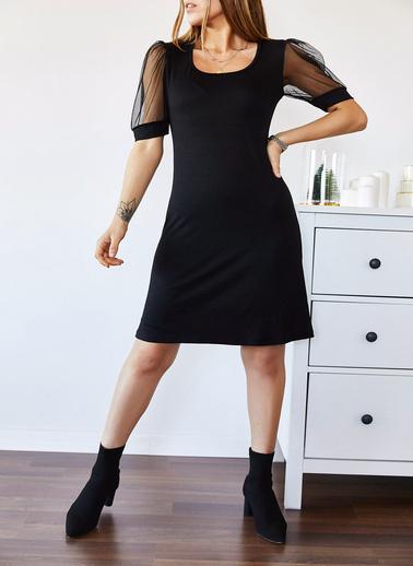 XHAN Kolu Tüllü Kare Yaka Elbise 9Kxk6-43337-02 Siyah